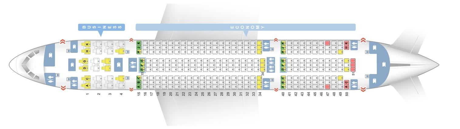 "Seat map Boeing 787-8 Dreamliner ""Air Europa"". Best seats in the plane"