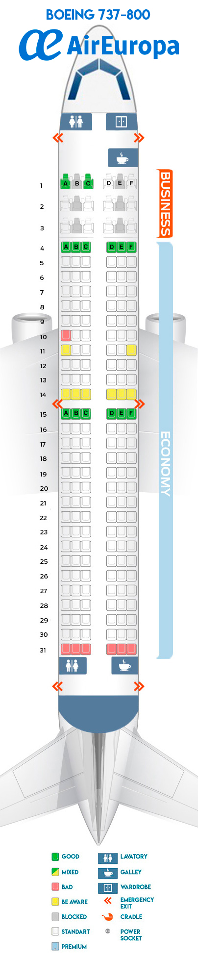 Seat Map Boeing 737 800 Quot Air Europa Quot Best Seats In The Plane