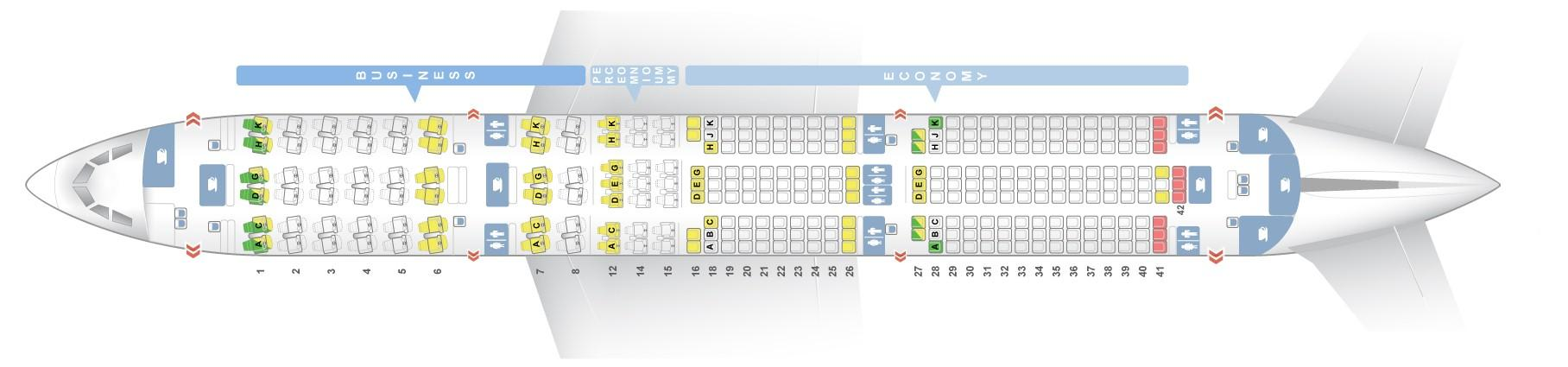 "Seat map Airbus A350-900 ""Lufthansa"". Best seats in the plane"
