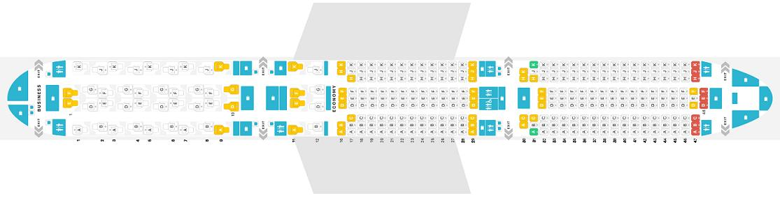Seat map Airbus A350-1000