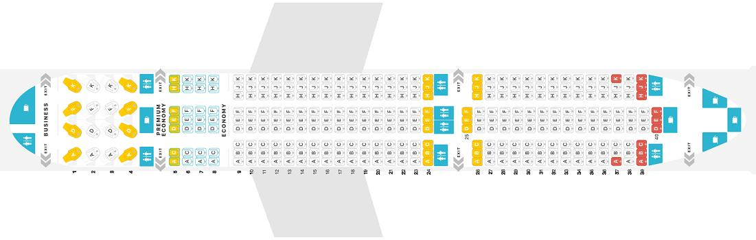 "Seat map Boeing 787-9 Dreamliner ""WestJet"". Best seats in the plane"