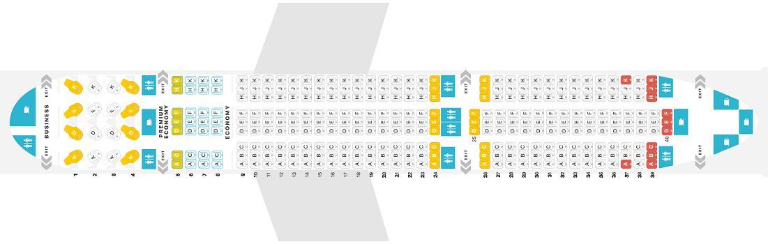 """Seat map Boeing 787-9 Dreamliner """"WestJet"""". Best seats in the plane"""