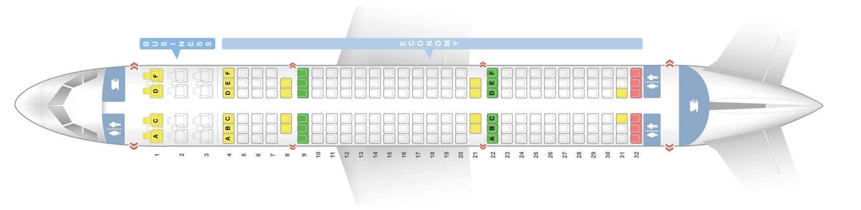 """Seat map Airbus A321-200 """"Air India"""". Best seats in the plane"""