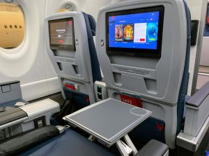 Delta Air Lines Airbus A220 First Class IFE and table