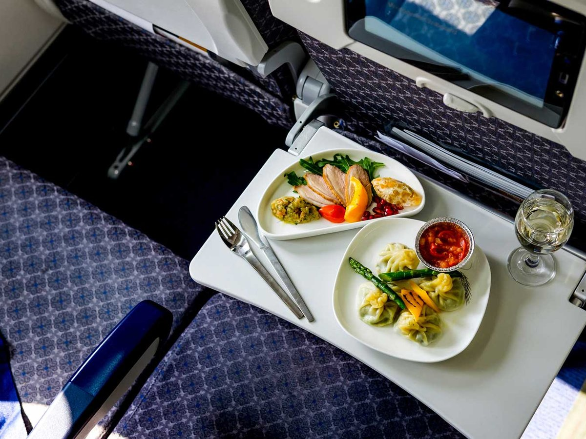Air passenger showed the most unusual food in economy class