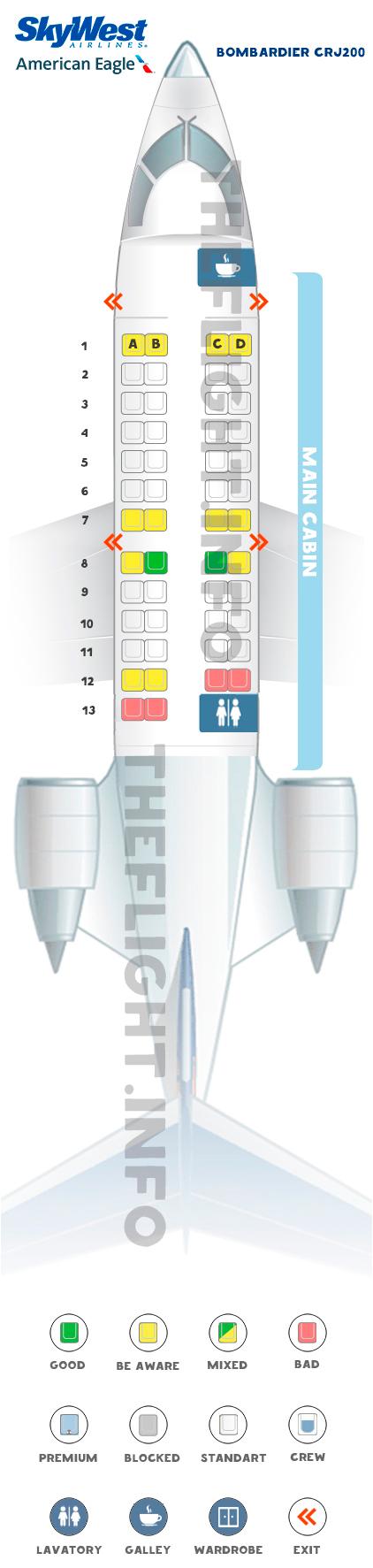 Seat Map Bombardier CRJ200 American Eagle