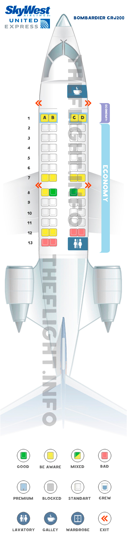 Seat map Bombardier CRJ200 United Express
