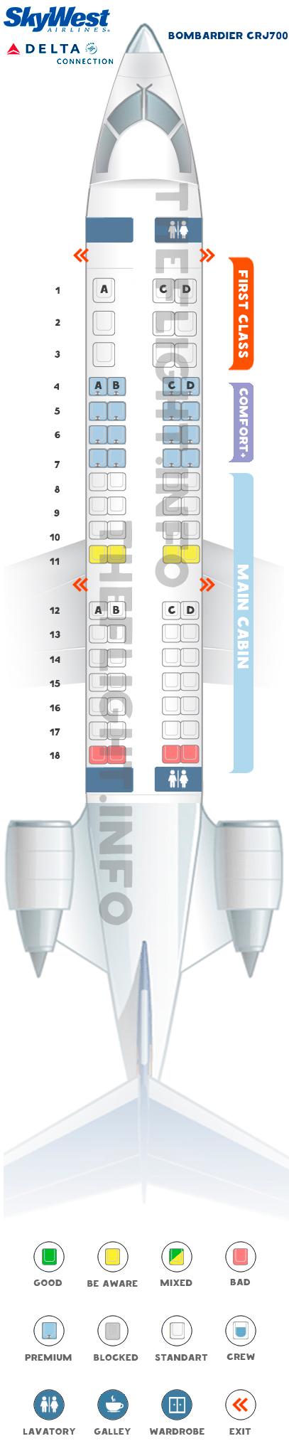 Seat map Bombardier CRJ700 Delta Connection Skywest