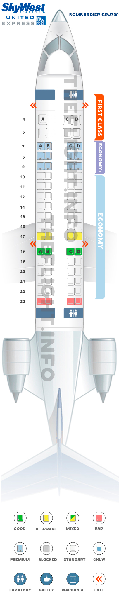 Seat map Bombardier CRJ700 United Express Skywest