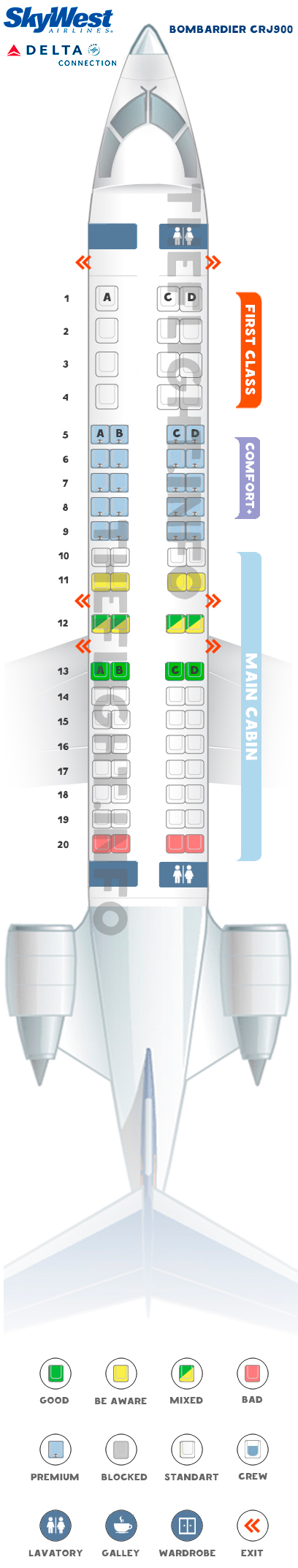 Seat map CRJ 900 Delta Connection Skywest