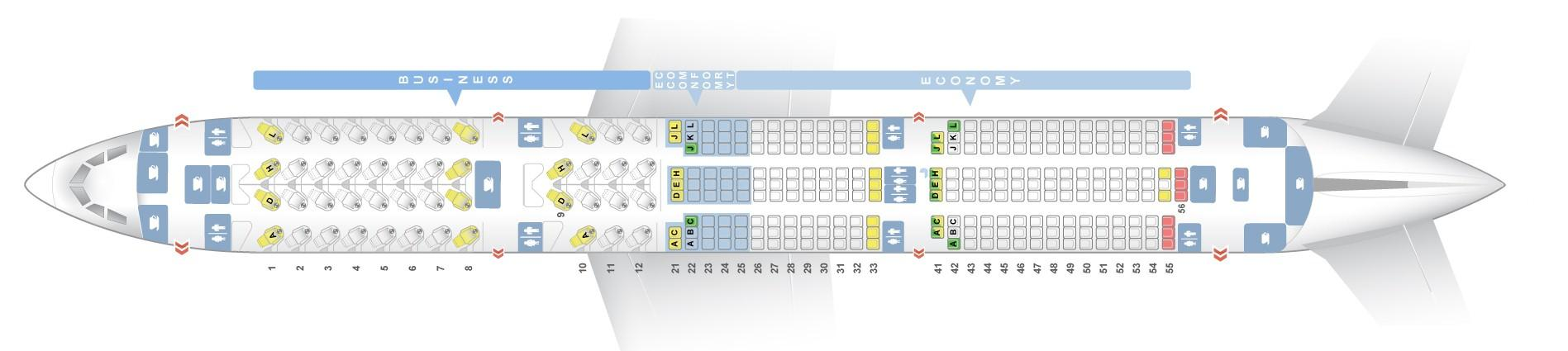 Seat map Airbus A350-900