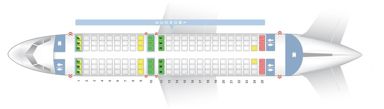 "Seat map Airbus A319-100 ""Vueling"". Best seats in the plane"
