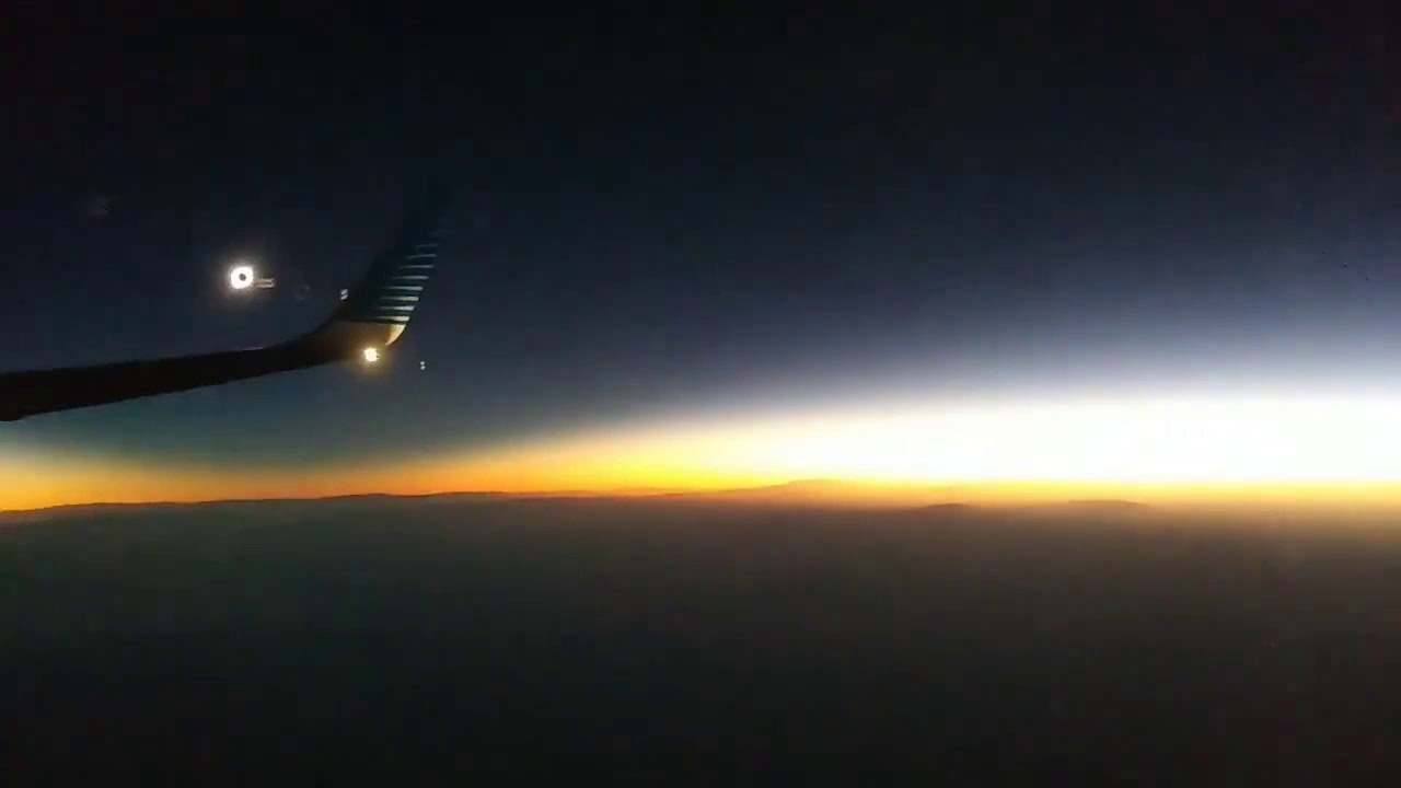Flight in the darkness: passengers of the airplane made video of the solar eclipse