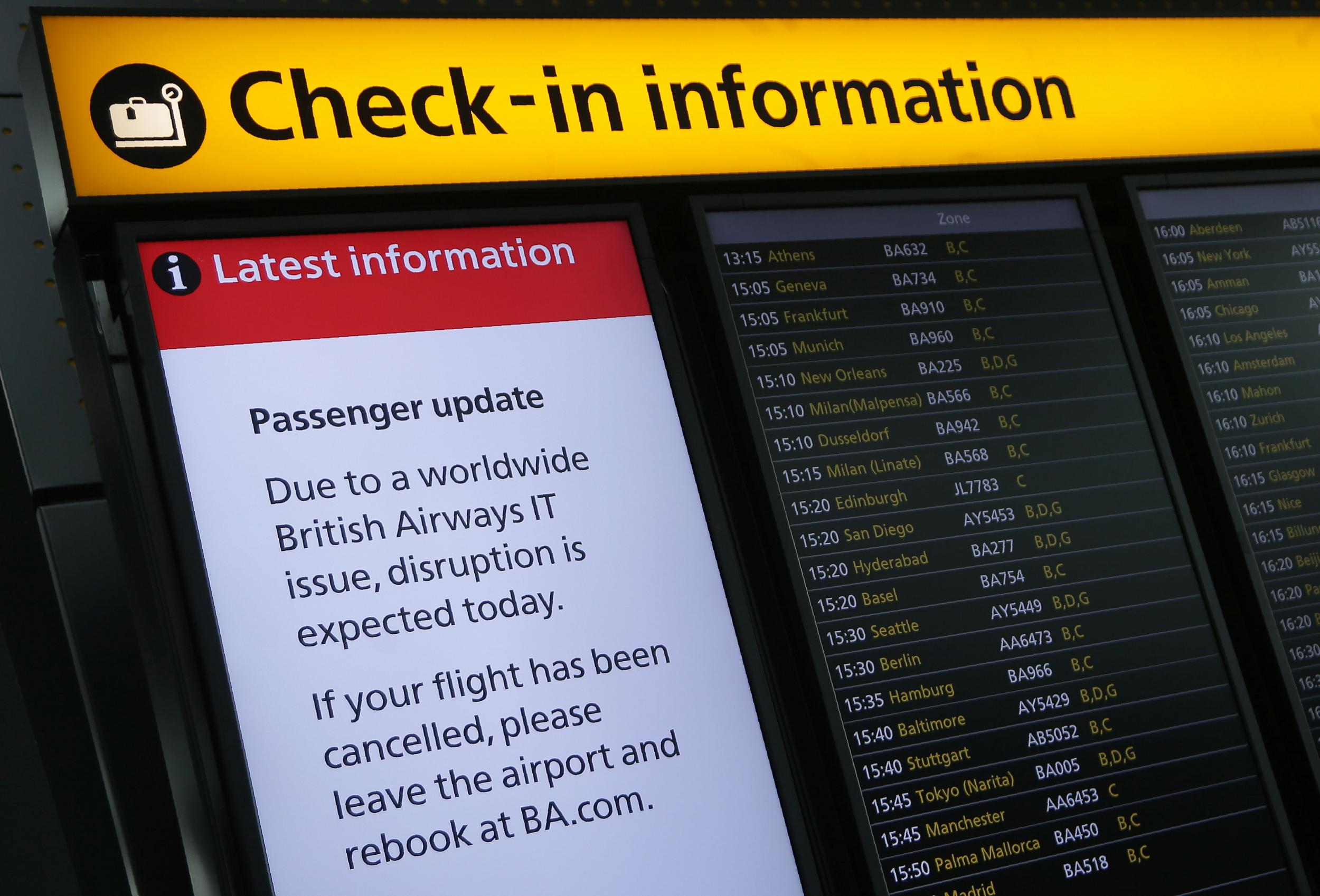 British Airways cancelled more than 90 flights on Tuesday because of computers failure