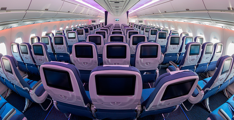 Innovative design of Airbus A350-900 from AMAC Aerospace and Pinifarina