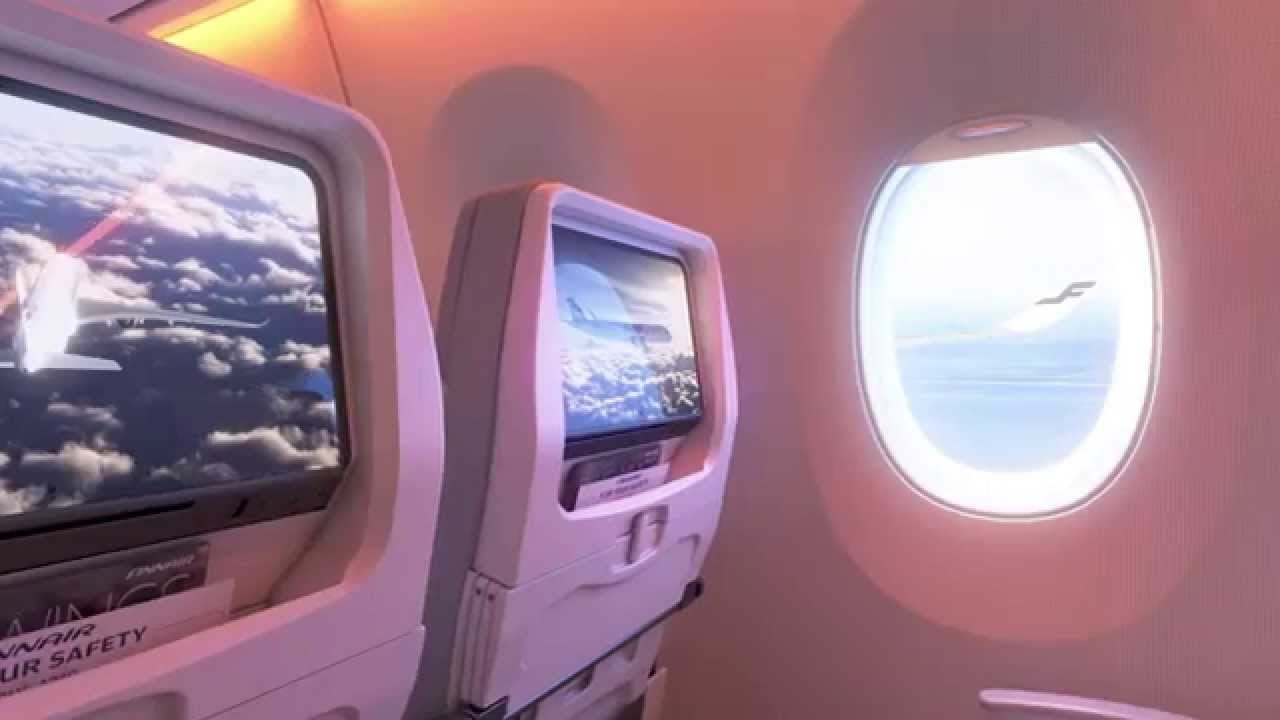 Airbus A350 XWB with smart cabin was shown from inside