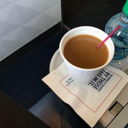 Dixie cup of coffee made the airplane with 326 passengers turn around above the Atlantic