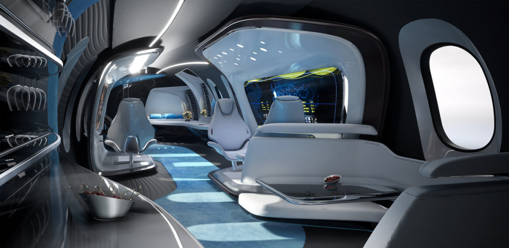 Concept of the Bombardier Global 8000 interior from AUFEER DESIGN is combination of comfort and functionality