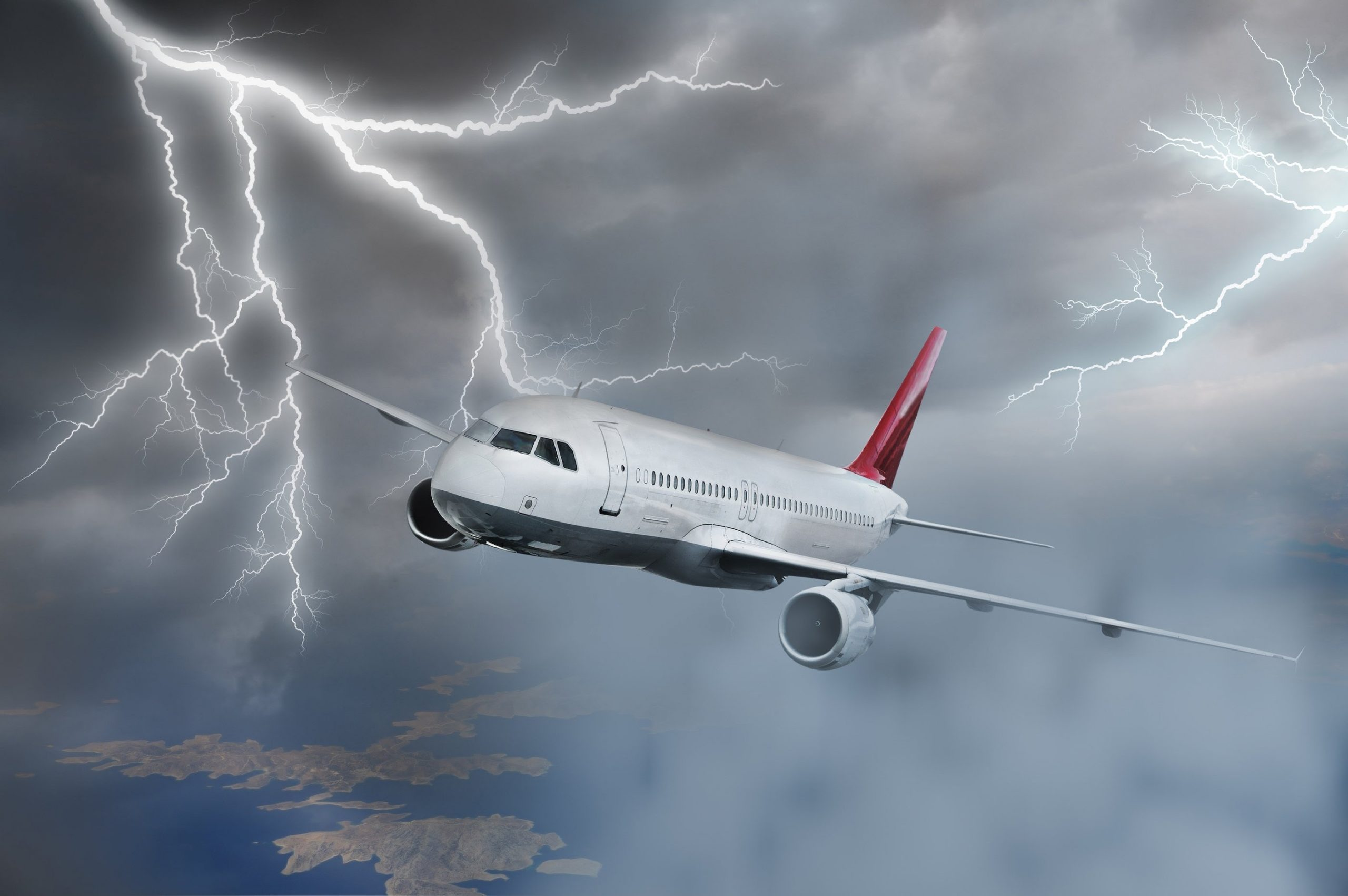 Passenger airplane of Aer Lingus company in the Britain sky was struck by lightning