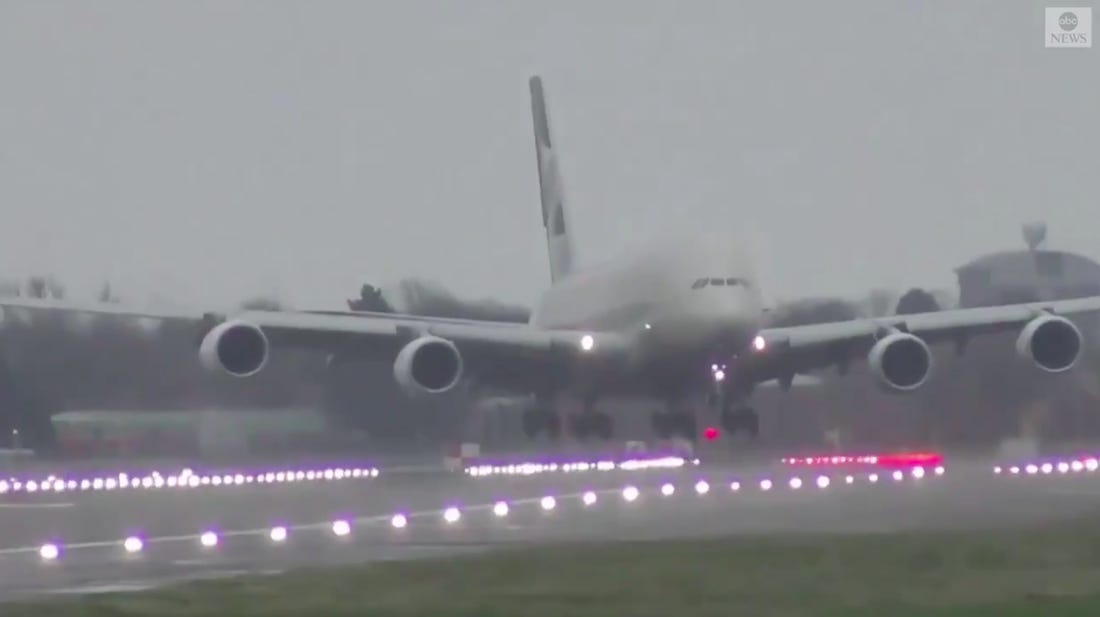 "The biggest passenger airplane in the world that was landing in Heathrow airport during storm has ""like hanged"" above the landing strip"