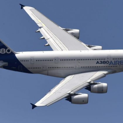 "Airline Company Hi Fly showed first in the world ""cargo"" Airbus A380"