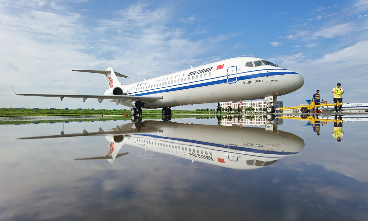 Airline company China Southern Airlines starts commercial use of the China manufactured airplane ARJ21