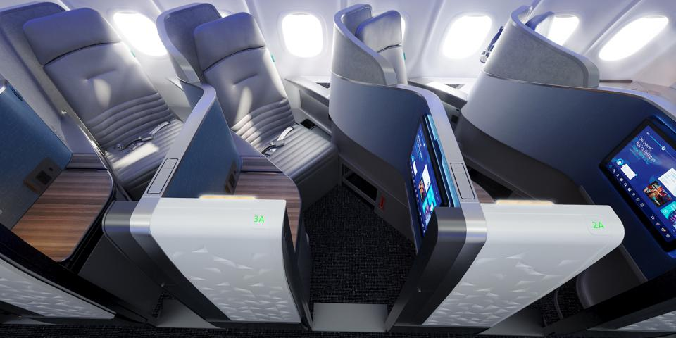 Airline company JetBlue showed new luxury interior of the passenger airplane cabins