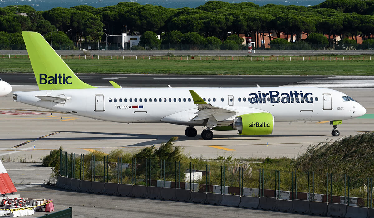 28th Airbus A220 airplane for airline company airBaltic